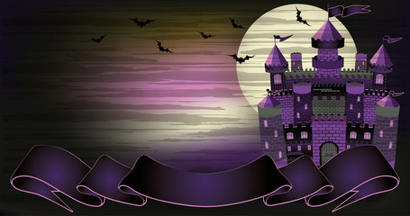 Old witch haunted castle banner, vector illustration