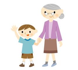 手をつなぐ男の子とおばあちゃん