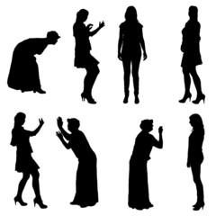 Vector silhouette of women.