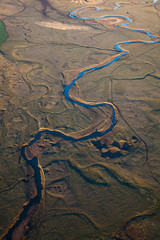 Top view of river in desert