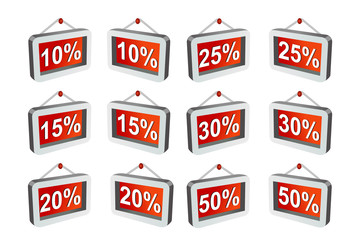 Vector format of hanging discount labels
