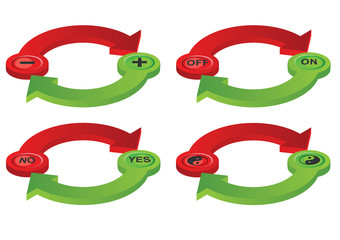 Vector format of contradictory green and red spatial arrows