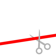 Scissors cut straight red ribbon on the right. Flat design