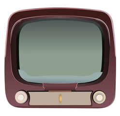 Vector format of old television with rotary knobs