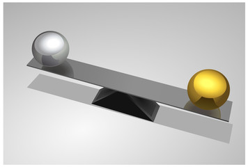 Vector format of metal seesaw with balls