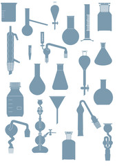 Vector format of laboratory glassware set