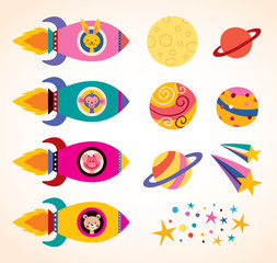 cute animals in spaceships kids design elements set