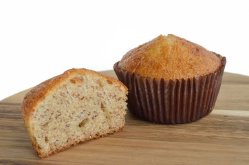 banana muffin on wooden