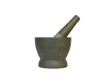 A stone mortar & pestle set isolated on white background
