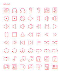 56 Thin Icons Set of music. Simple line icons pack.