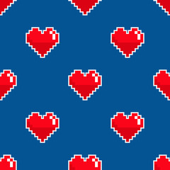 Pixel heart seamless pattern. Vector illustration