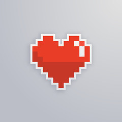 Pixel heart isolated vector