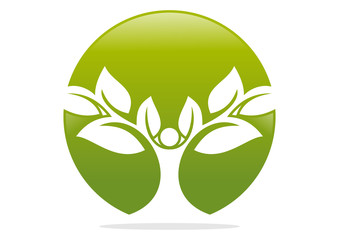 logo natural Tree  human wellness icon
