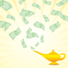 cartoon money come from magic lamp