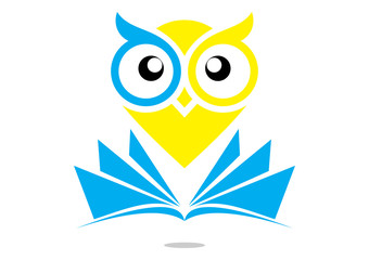 logo smart owl education with book