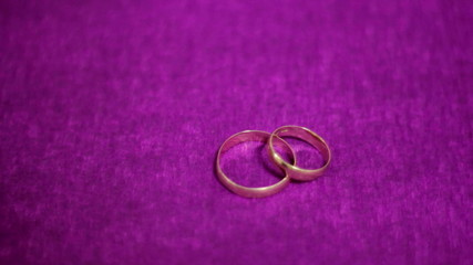 Two beautiful wedding ring on a dark purple background