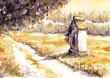 Quadro Landscape with chapel.Watercolors