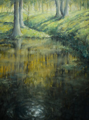 Pond in forest.Oil colors.