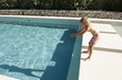 hot summer day, Boy dives in the pool