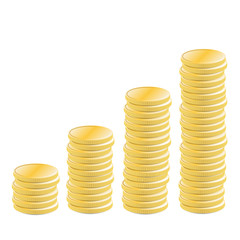 Stacked coins rising profit