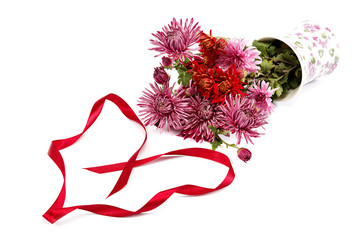 Chrysanthemum flowers in vase and festive red ribbon.