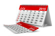 2015 year calendar. July. Isolated 3D image