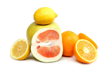 Citrus fruits isolated on white.