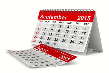 2015 year calendar. September. Isolated 3D image