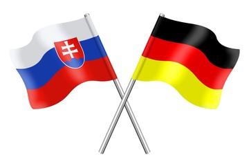Fahnen: Slowakei und Deutschland