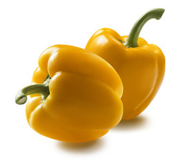 Yellow bell peppers isolated on white background