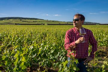 vigneron dégustant dans les vignes
