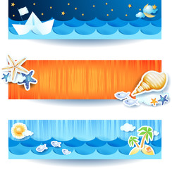 Holidays on the beach, set of banners