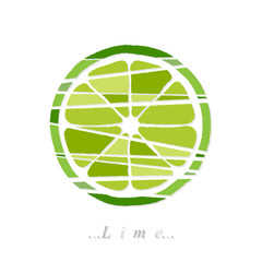 Vector of vegetable, lime icon on isolated white background