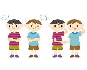 喧嘩する子供と仲直りする子供