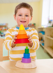 little boy in kindergarten