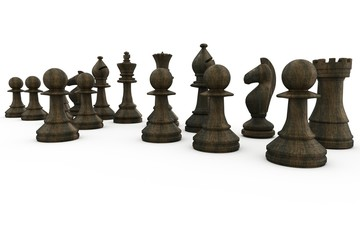 Black wooden chess pieces standing