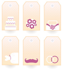 Retro Wedding tags or labels set isolated on white