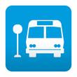 Etiqueta tipo app azul simbolo bus stop