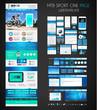 One page SPORT website flat UI design template.