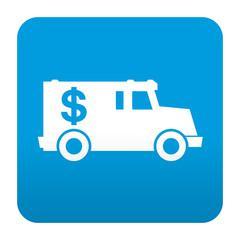 Etiqueta tipo app azul simbolo furgon blindado