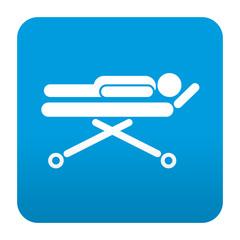 Etiqueta tipo app azul simbolo camilla