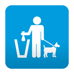Etiqueta tipo app azul simbolo recogida excremento canino