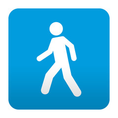 Etiqueta tipo app azul simbolo peaton