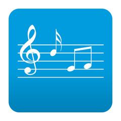Etiqueta tipo app azul simbolo pentagrama musical