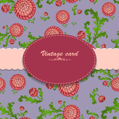 Vintage card on floral blue background