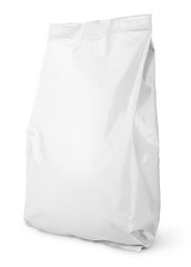 Blank Snack bag package isolated on white with clipping path