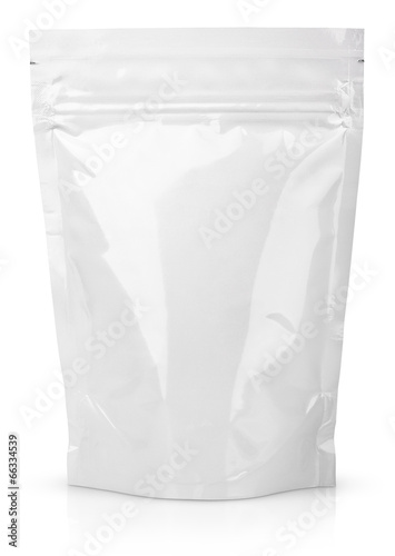 White blank foil or plastic sachet with valve and seal - 66334539