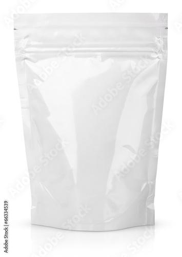 Leinwanddruck Bild White blank foil or plastic sachet with valve and seal