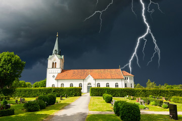 Stormy clouds over Swedish church