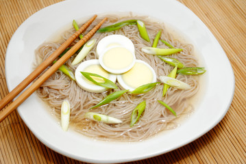 Asian Noodle Soup with Sliced Boiled Eggs